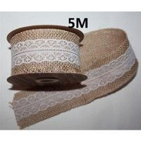 Wish | 5M Lace Trims Natural Jute Burlap Hessian Ribbon with Tape Rustic Wedding Decor cake