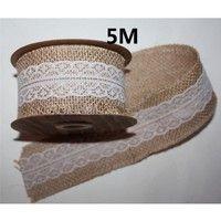 Wish | 5M Lace Trims Natural Jute Burlap Hessian Ribbon with Tape Rustic Wedding Decor cake