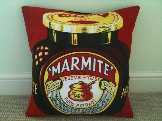 There's only one way to get comfy... with a Marmite cushion!