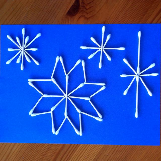 Snow Flakes out of Q-tips! My 5 year old concentrated and loved iit for 45 minutes! They break when you fold them, so no scissors either.