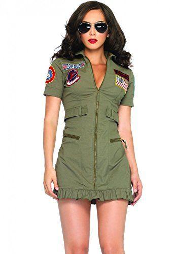 DELUXE Piloten-Kostüm TOPGUN DAMEN inkl. Brille, Größe:L