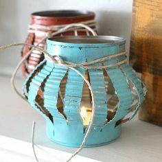 24 Unique Beautiful DIY Garden Lanterns - 19. TIN CAN TEA LIGHTS