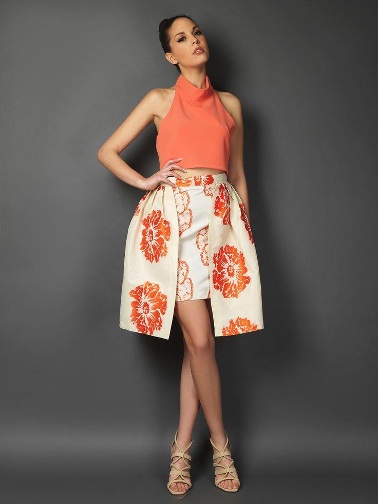 Μπροκάρ φλοράλ φούστα με πιέτες
