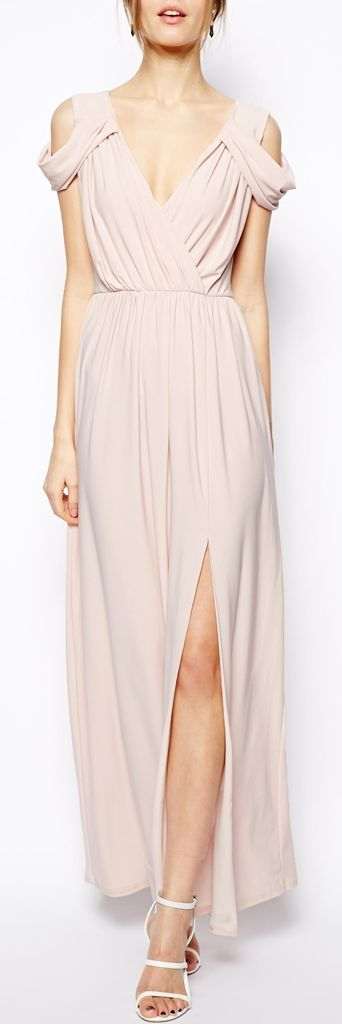Pink draped dress off shoulder