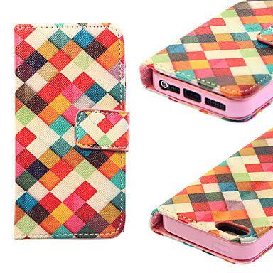 geometrie patroon vallen bewijs pu lederen tas met standaard en solt kaart voor iphone5 / 5s – EUR € 8.99