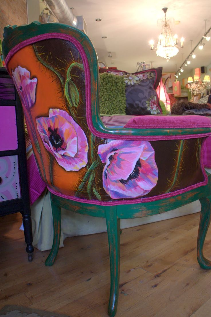 Ideas for hand painted chairs - Hand Painted And Upholstered Chair