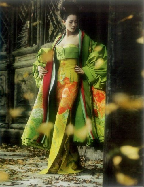 kimono - dior: John Galliano, Kimonos Style, Geishas, Christian Dior, Green, Dresses, Dior Haute, Gong Li, Haute Couture