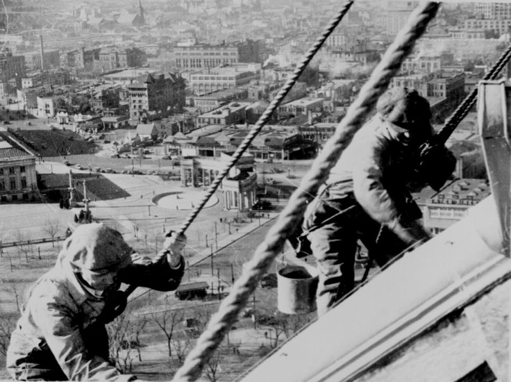 Civil Works Administration (CWA) workmen cleaning and painting the gold dome of the Denver Capitol, 1934. (Courtesy of the National Archives