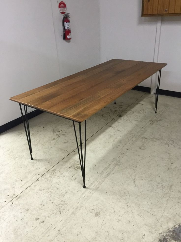 Recycled Hairpin Steel Leg And Hardwood Table In Home Garden Furniture Dining Room