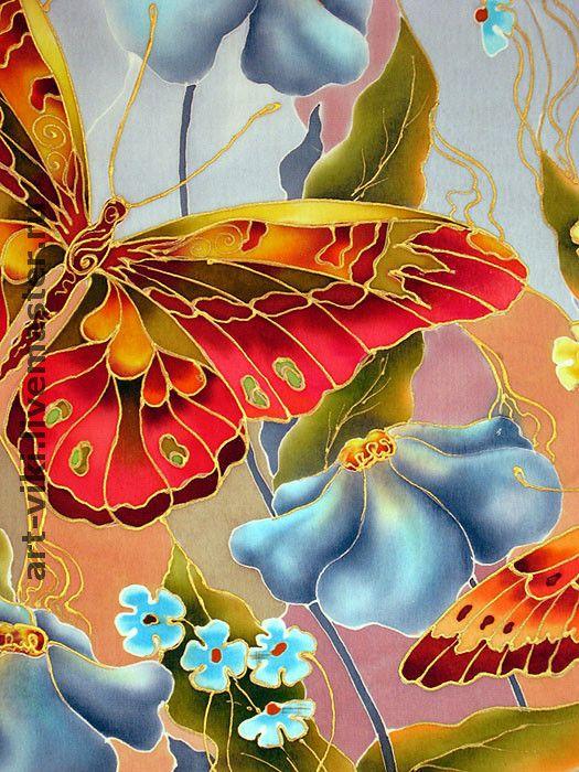 "Купить Панно ""Бабочки на голубом"" батик - Батик, холодный батик, картина батик, панно на шёлке"