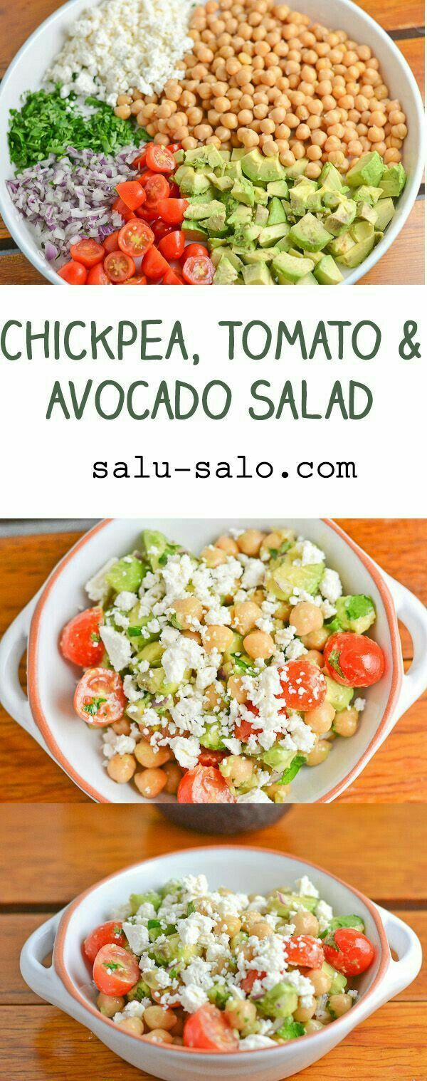 This chickpea, tomato and avocado salad is so easy to make it doesn't even have instructions!! #SayYes ##healthyrecipes