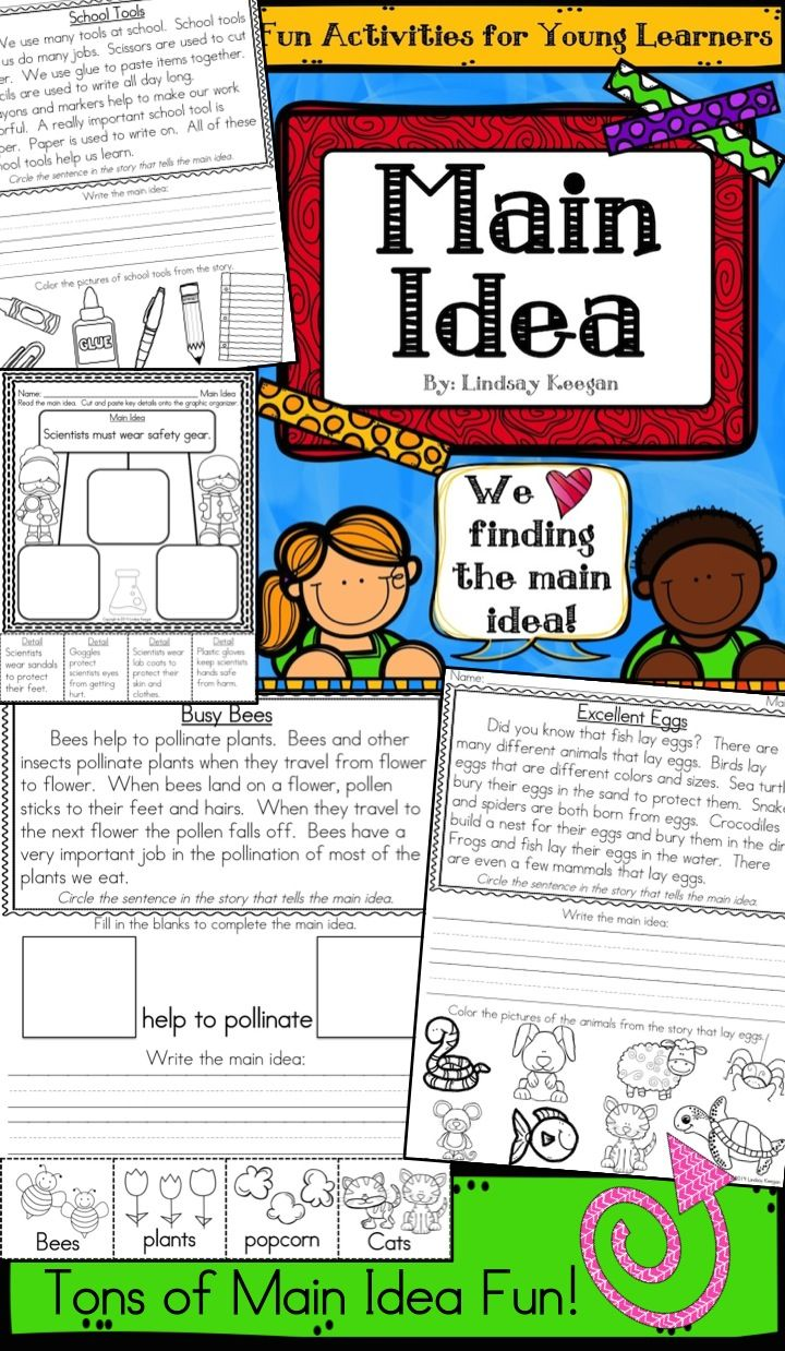 Main Idea and Details Activities for young learners.