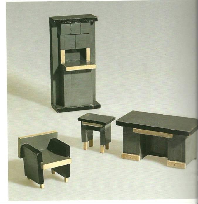 vantongerloo maquettes pour un ensemble mobilier 1920 bois peint coll bill de stijl way. Black Bedroom Furniture Sets. Home Design Ideas