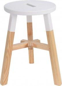 Stołek drewniany - biały