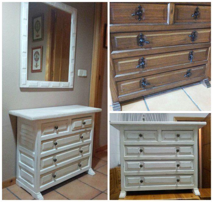 Taquill n castellano pintado en blanco envejecido mueble - Muebles pintados en blanco ...