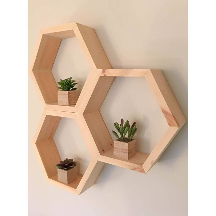 """Measurements: 11"""" height x 12.5"""" width x 3"""" depth    This hexagon shelf can be wall mounted or free standing. Looks great alone or paired with multiple shelves!"""