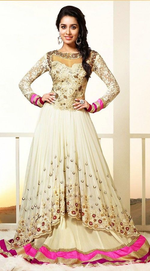 cream georgette designer floor length anarkali suit which is beautified with stone, resham embroidery work on the yoke and vertical panel, gotta lace work on the broad border.