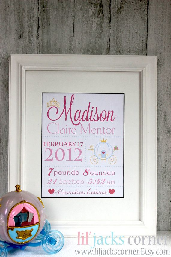Personalized Princess Birth Announcement Wall by liljackscorner, $7.00