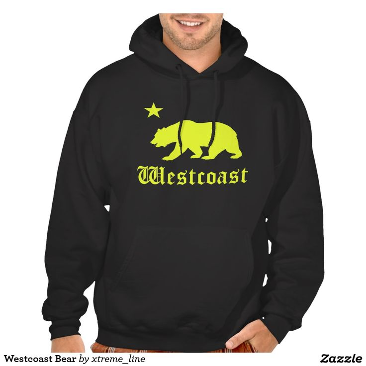 Westcoast Bear #California Hooded Pullover. #Hoodies #Clothing