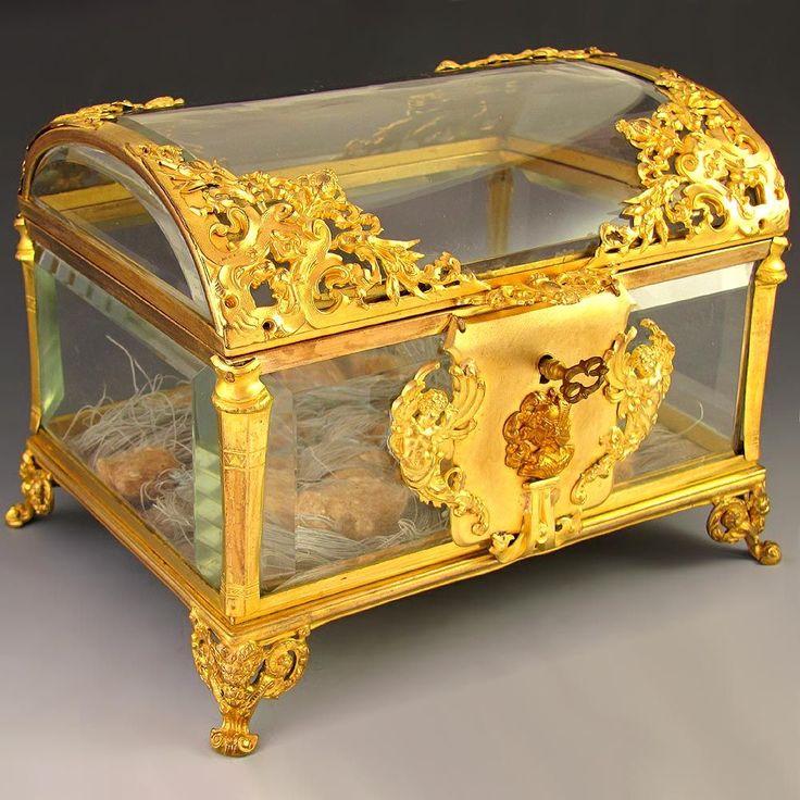 Antique French Cut Crystal Gilt Bronze Ormolu Jewelry Casket , Box ...