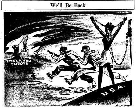 In the June 17, 1944 Defender cartoon, Jan Jackson used a feminine metaphor to portray a double-standard in the politics of government intervention. A half-naked black woman chained to a post, arms...