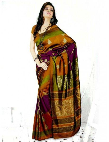 Vivacious Art Silk Saree http://www.bharatplaza.com/womens-wear/sarees/traditional-saree.html