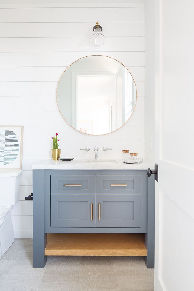 Newport Island Beach House Bathroom Shiplap Wall Gold Circle Vanity Mirror Blue Bathroom Vanity In 2020 Beach House Interior House Bathroom Beach House Bathroom