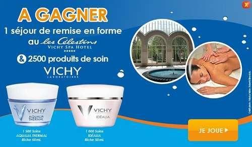 Vichy vous propose de jouer à son jeu concours afin de gagner 2 500 soins ainsi qu'un séjour en spa Célestins.