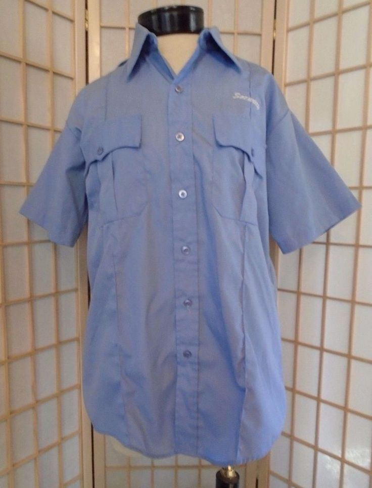 Vintage Security Shirt Blue Short Sleeve SMALL Halloween Police Costume Liberty