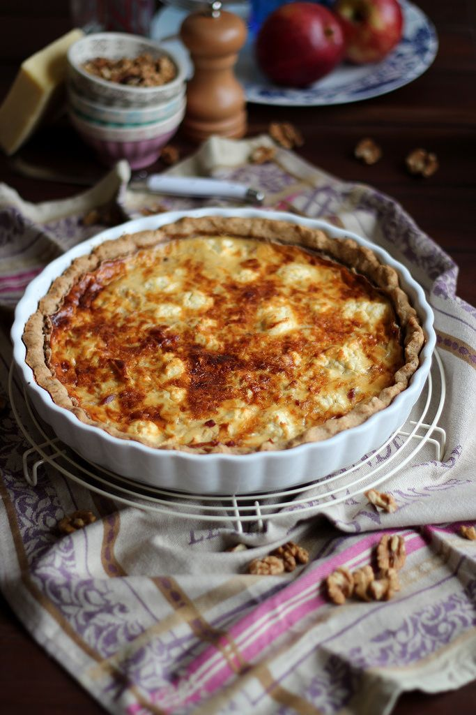 Quiche de nueces, bacon y manzana