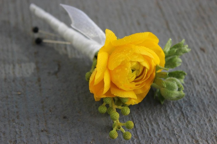 yellow ranunculos boutonniere   http://sophisticatedfloral.com/