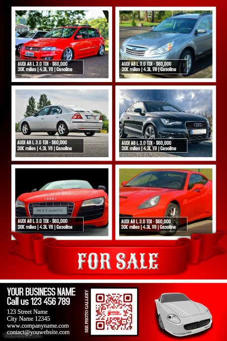 cars for sale flyer moderne design template color red