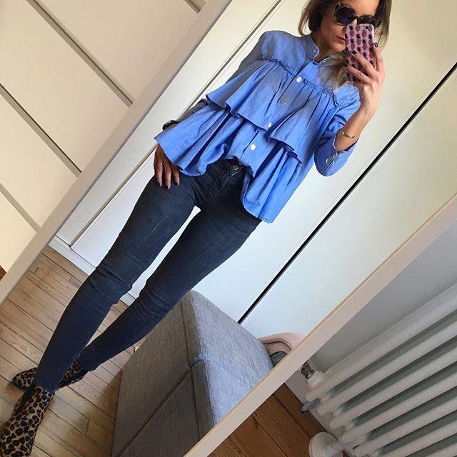 Blue  #outfit#ootd#dailylook#dailypost#dailyoutfit#dailypost#instalook#instafashion#fashionpost#fashiondiaries#fashionblogger#wiwt#picoftheday blouse(old)#zara jean(coactuelle)#zara boots#semerdjian#arabesquetoulouse lunettes#jimmyfairly