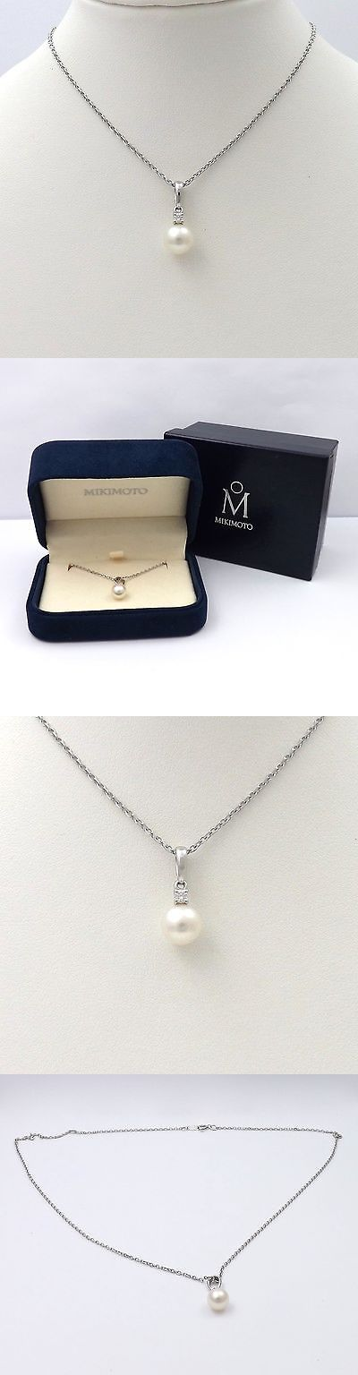 Pearl 164333: New Mikimoto 18K White Gold Akoya 7Mm Pearl Diamond Pendant Chain Necklace -> BUY IT NOW ONLY: $585 on eBay!