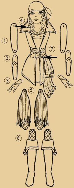 Grace Puppet Instructions  Marionetas de papel, pirata, hay muchos, sobretodo hadas.