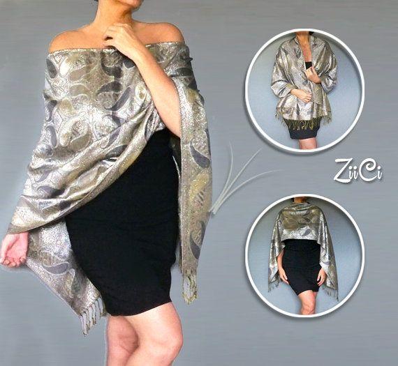 Glitzy Silver Shawl Evening Shawls And Wraps Womens by ZiiCi