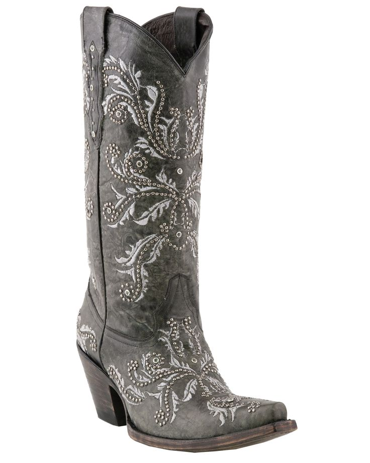 """The Ultimate Holiday Boot: Lucchese Women's Grey Oklahoma Calf """"Studded Angelina"""" Boots http://www.countryoutfitter.com/products/31823-womens-grey-oklahoma-calf-studded-angelina-boots #cowgirlboots"""