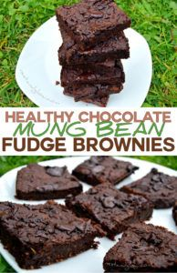healthy-chocolate fudge mung bean brownies