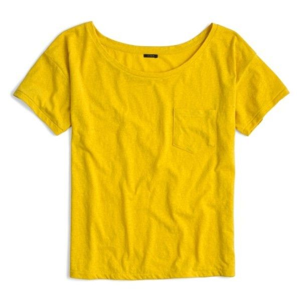 Women's J.crew Relaxed Boat Neck Tee ($30) ❤ liked on Polyvore featuring tops, t-shirts, golden sun, off shoulder tee, golden yellow t shirt, off shoulder t shirt, boat neck t shirt and yellow top