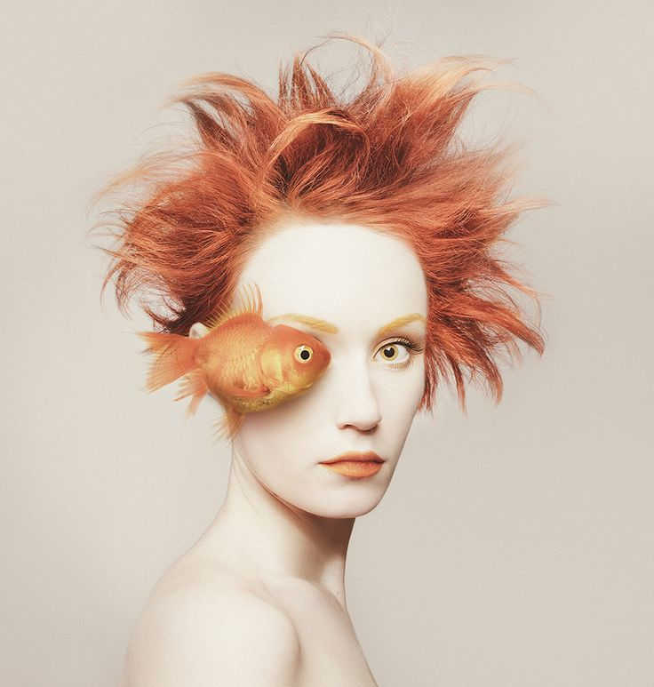 """Hungarian photographer Flóra Borsi is an eyeful. """"Animeyed"""", her latest project, features animals superimposed over self-portraits so that the two faces overlap, sharing one eye in common. The surreal effect is compounded by Borsi's use of colors and props to make her look more like the creature sharing the photo."""