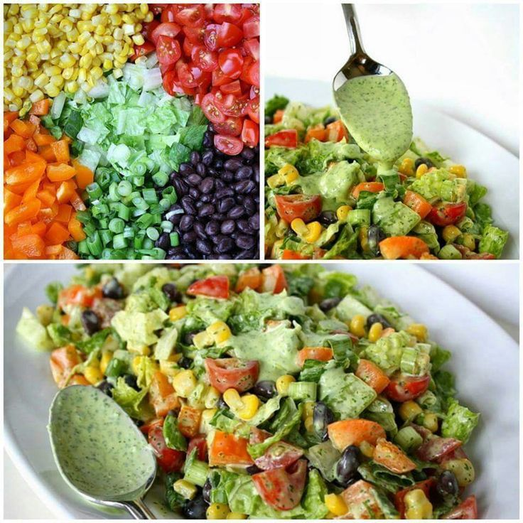 Southwestern chopped salad... Romaine lettuce Black beans  Orange pepper  Cherry tomatoes  Corn Scallions  Advocado  Dressing  Cilantro  Advocado (*1/2) Line juice Garlic cloves 2 1/4 c olive oil 1 1/2 tsp white wine vinegar  Salt