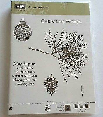 *ORNAMENTAL PINE* NEW Stampin' Up! 6 Clearmount Rubber Stamps. Retired, Rare.