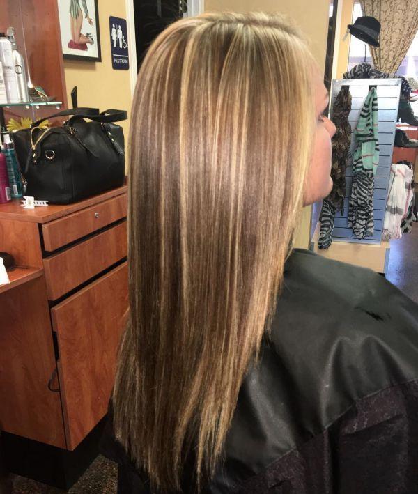 Blonden mit everartreat: strähnen goldbraun Haarfarbe Hellbraun