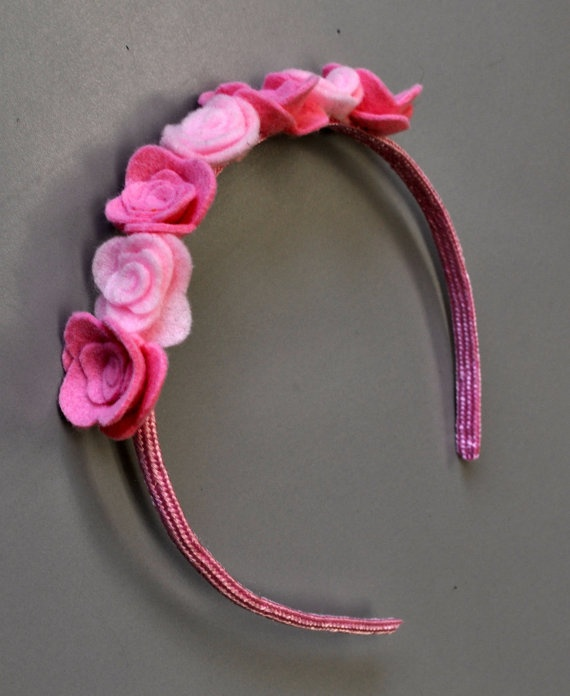 Pink Rose Felt Headband. $20,00, via Etsy.