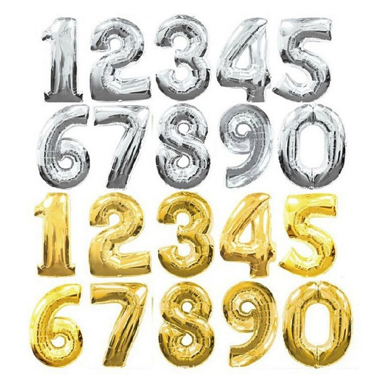 30 inches Gold Silver Number Foil Balloons Digit Helium Ballons Birthday Party Wedding Decor Air Baloons Event Party Supplies