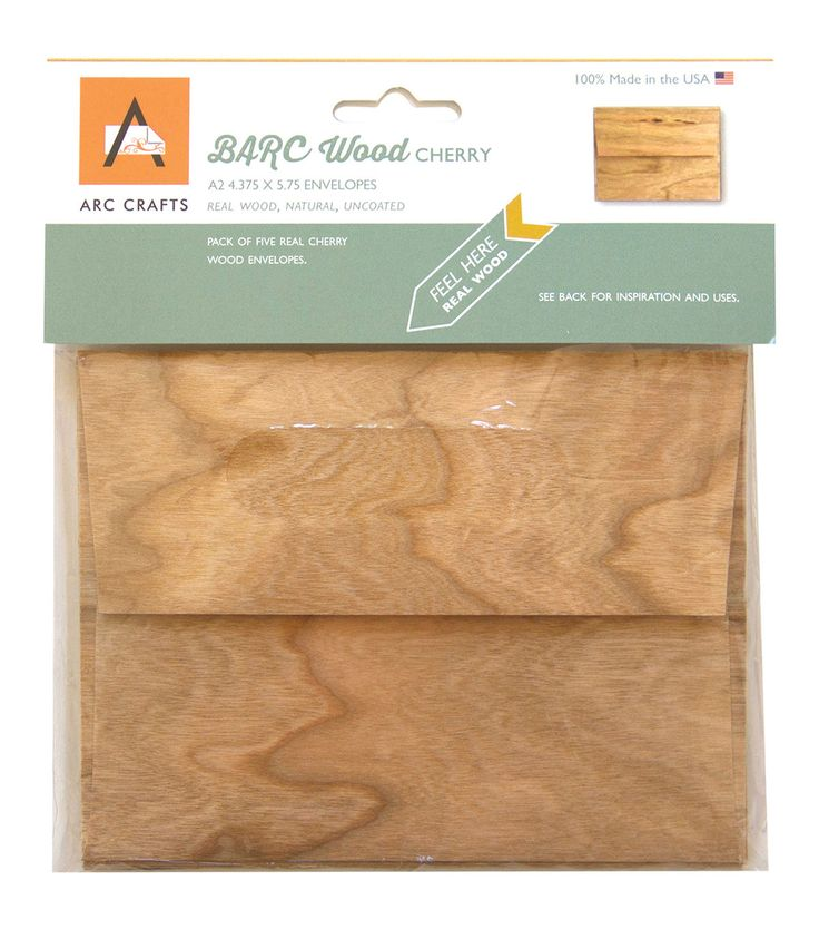 Arc Crafts BARC Wood Veneer 5ct A2 Envelopes - Cherry