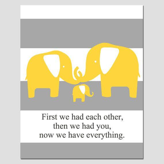 Elefanten Familie Kinderzimmer Kunst zuerst hatten wir von Tessyla