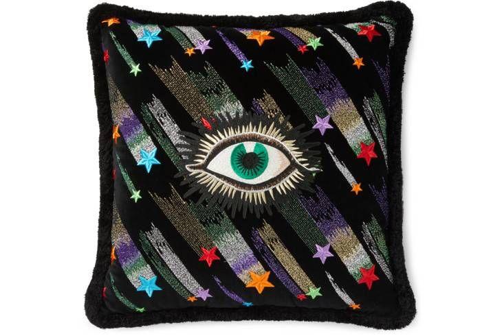 Gucci Velvet Cushion With Star Eye Embroidery Velvet Cushions
