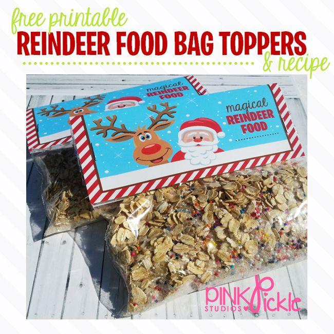 FREE PRINTABLE REINDEER FOOD BAG TOPPERS BY Pink Pickle Studios