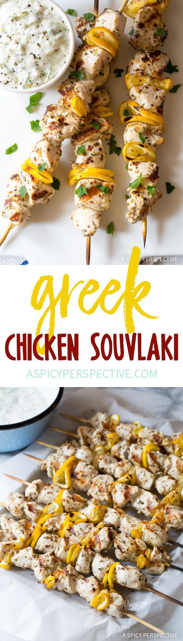 Hot Zesty Greek Chicken Souvlaki Recipe with Tzatziki Sauce! #lowcarb #glutenfree #healthy